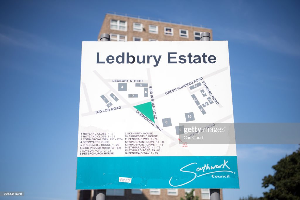 A sign is displayed on the Ledbury Estate on August 11, 2017 in London, England. Hundreds of residents of the estate are to be evacuated from four tower blocks over safety fears after a survey, ordered after the Grenfell Tower fire, found cracks in the walls leaving it vulnerable to collapse in the event of a gas explosion.