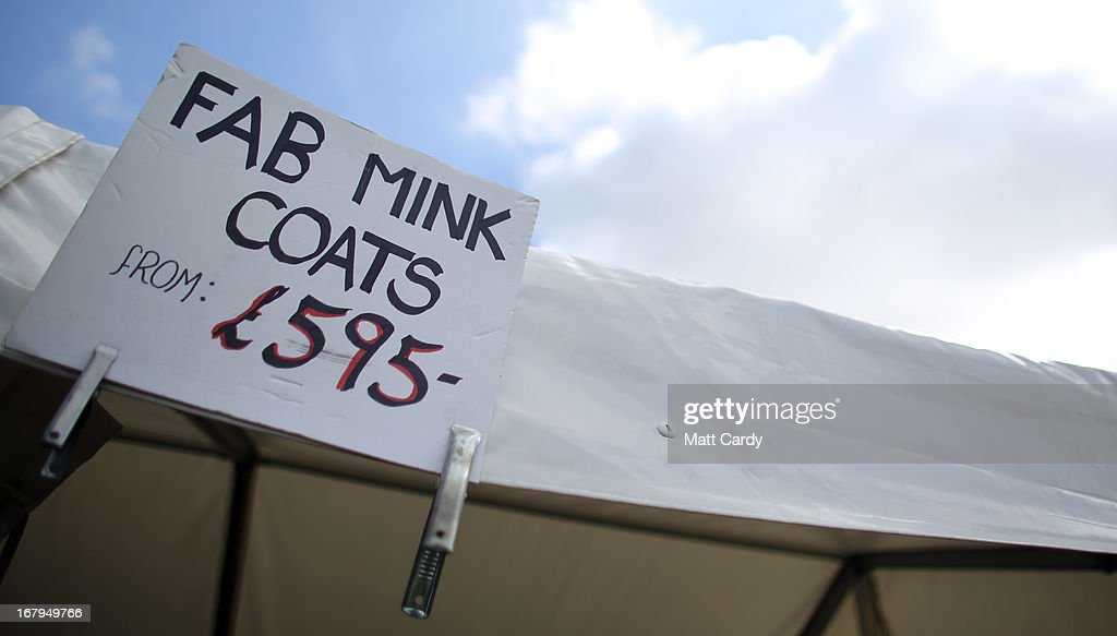 A sign is displayed outside a stall on the Badminton Horse Trials on the first full day of the Mitsubishi sponsored event on May 3, 2013 in Badminton, Gloucestershire. The event - which runs until Monday and is held on the Duke of Beaufort's estate, is now in its 22nd year but was cancelled last year due to flooding. It is widely seen by many as one of the highlights in the equestrian eventing calendar.