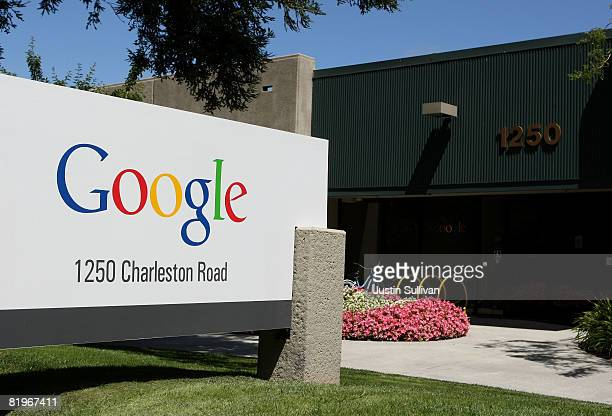 A sign is displayed outside of a Google office July 17 2008 in Mountain View California Google Inc is expected to announce an increase in quarterly...