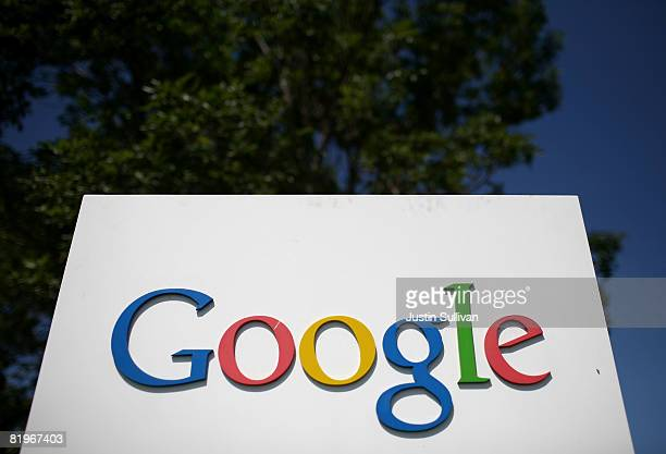 A sign is displayed outside of the Google headquarters July 17 2008 in Mountain View California Google Inc is expected to announce an increase in...