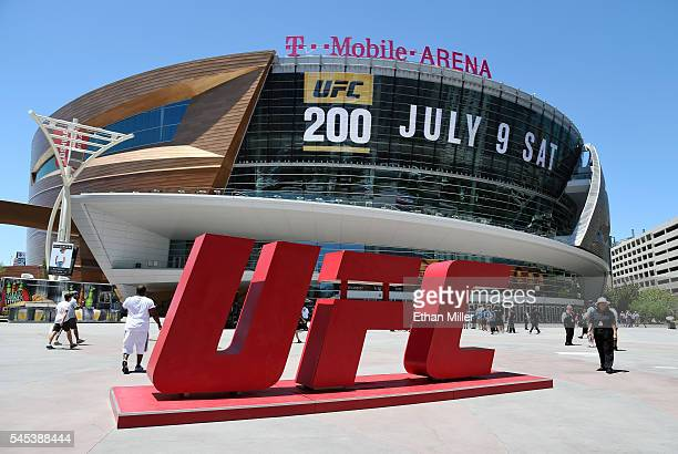 UFC sign is displayed outside TMobile Arena ahead of UFC 200 on July 7 2016 in Las Vegas Nevada
