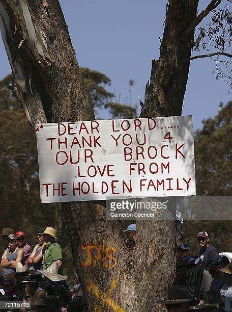 A sign is erected by fans on a tree at Brock's Skyline as a tribute to the late Peter Brock during the V8 Supercars Bathurst 1000 at the Mount...