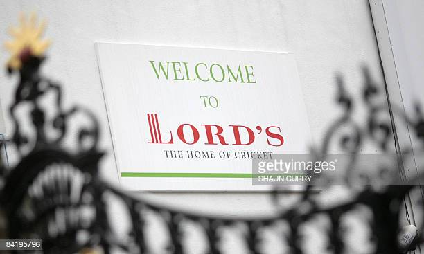 A sign is pictured at Lord's cricket ground in London on January 7 2009 Confusion surrounded the positions Wednesday of both England captain Kevin...