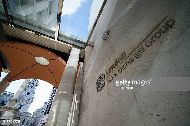 A sign is pictured on a wall outside the entrance to the Londson Stock Exchange in central London on March 4 2016 London Stock Exchange Group posted...