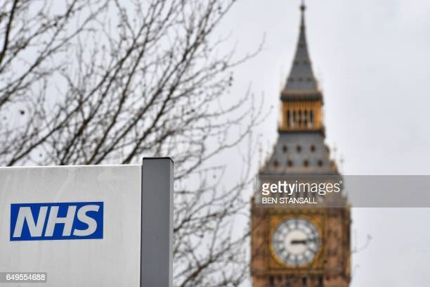 sign is pictured outside St Thomas' Hospital near the Houses of Parliament in central London on March 8 2017 Britain's economy will grow by 20...