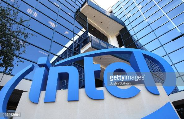 A sign is posted at the Intel company headquarters on July 20 2011 in Santa Clara California Intel will report their quarterly earnings today after...