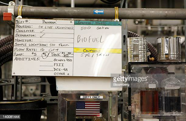 A sign is posted in a biofuel research lab at the Patuxent River Naval Air Station in Patuxent River Maryland US on Monday Feb 13 2012 The US Navy...