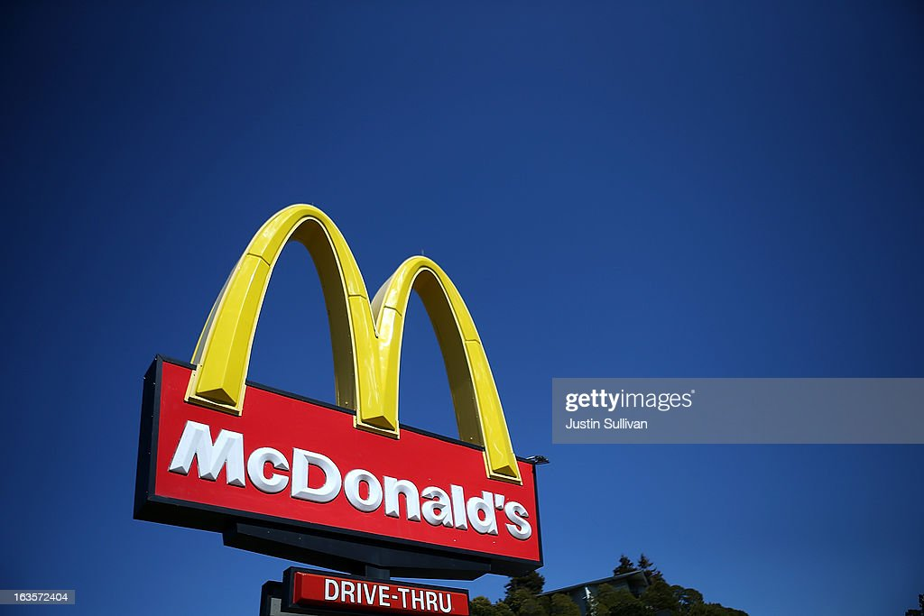 A sign is posted in front of a McDonald's restaurant on March 12 2013 in Mill Valley California McDonald's has retained its number one ranking in...