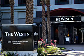 A sign is posted in front of a Westin hotel on November 16 2015 in Millbrae California Marriott International announced plans to purchase Starwood...