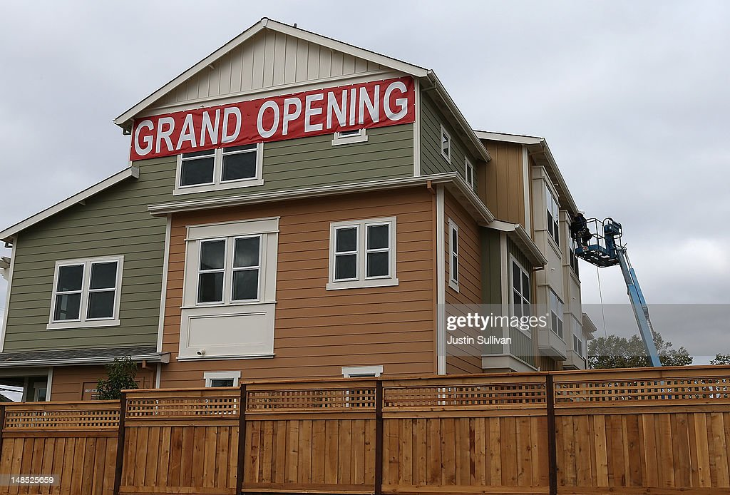 A sign is posted in front of the Arbor Rose housing development on July 18, 2012 in San Mateo, California. The Commerce Department reported that housing starts surged 6.9% in June, the highest increase since October 2008.