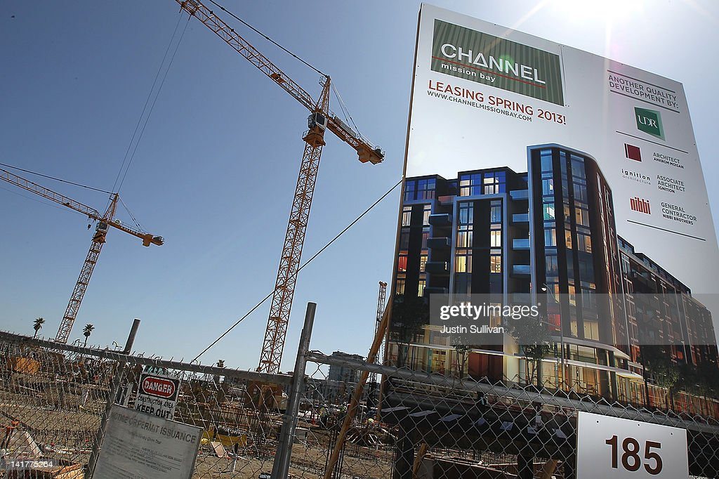A sign is posted in front of the construction site for the Channel Mission Bay housing development on March 23, 2012 in San Francisco, California. After years of being dormant, new apartment construction in the city of San Francisco is set to take off as the city's technology sector continues to grow. Nearly 22,000 apartment units are currently in various stages of permit approvals and construction.