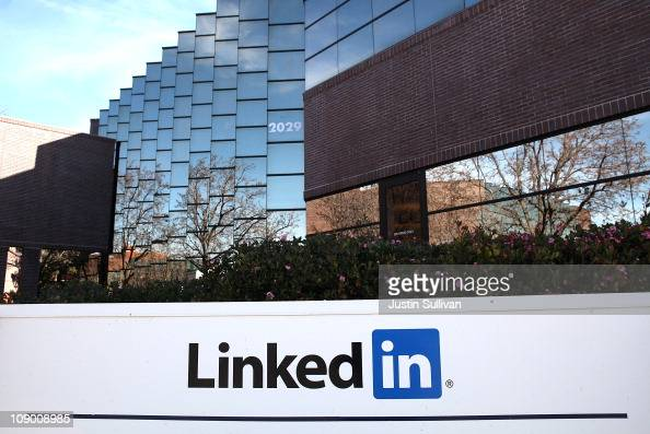 A sign is posted in front of the LinkedIn headquarters on February 11 2011 in Mountain View California Online business networking site LinkedIn filed...