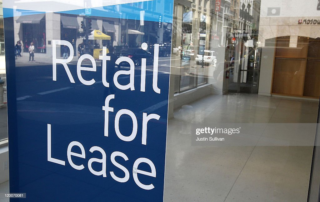 A sign is posted in the window of a vacant retail space on July 29, 2011 in San Francisco, California. The U.S. Commerce Department reported today that the U.S. economy slowed in the second quarter with the GDP coming in at 1.3 percent, far lower than expected.