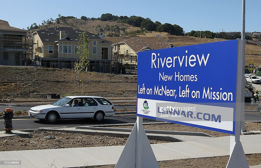 A sign is posted near a new housing development on August 16, 2011 in Petaluma, California. The Commerce Department reported that new home construction fell in July with homebuilders beginning construction on a seasonally adjusted 604,000 homes for the month, a 1.5 percent decline from June.