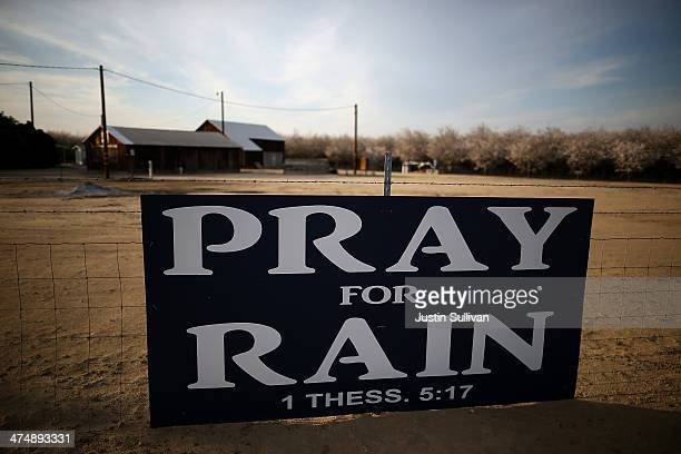 A sign is posted near an almond farm on February 25 2014 in Turlock California As the California drought continues and farmers struggle to water...