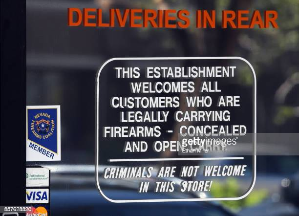 A sign is posted on a front door of the New Frontier Armory on October 4 2017 in North Las Vegas Nevada Stephen Paddock legally bought firearms at...