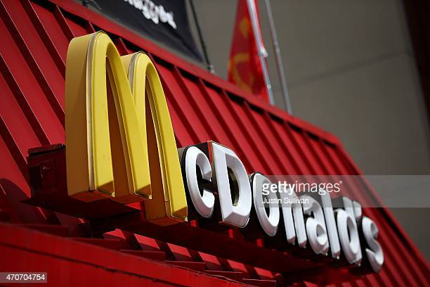 A sign is posted on the exterior of a McDonald's restaurant on April 22 2015 in San Francisco California McDonald's reported a decline in first...