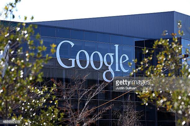 A sign is posted on the exterior of Google headquarters on January 30 2014 in Mountain View California Google reported a 17 percent rise in fourth...