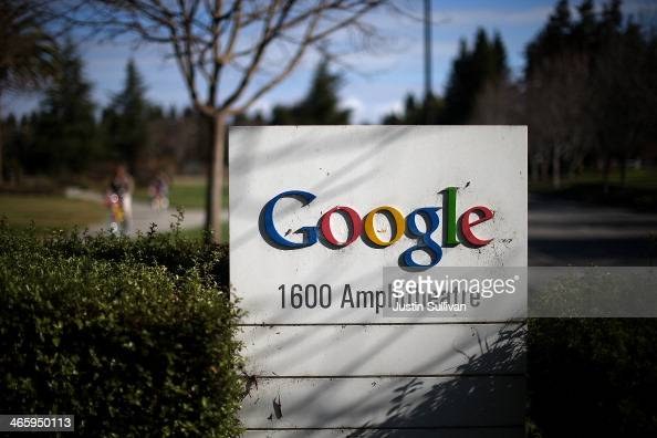 A sign is posted outside of Google headquarters on January 30 2014 in Mountain View California Google reported a 17 percent rise in fourth quarter...