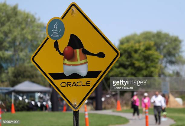 A sign is posted outside of Oracle headquarters on June 22 2017 in Redwood Shores California Oracle reported better than expected fourth quarter...