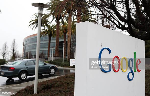 A sign is posted outside of the Google headquarters January 21 2010 in Mountain View California Google will report fouth quarter earnings today