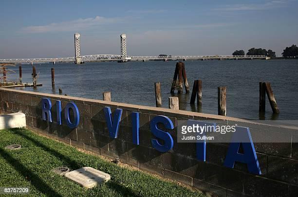 A sign is seen along the Sacramento River November 19 2008 in Rio Vista California The Northern California city of Rio Vista is considering plans to...