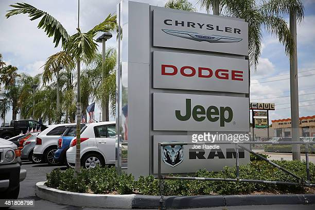 A sign is seen at a Fiat Chrysler Jeep Ram dealership is seen as the Fiat Chrysler company announced it is recalling about 14 million Dodges Jeeps...