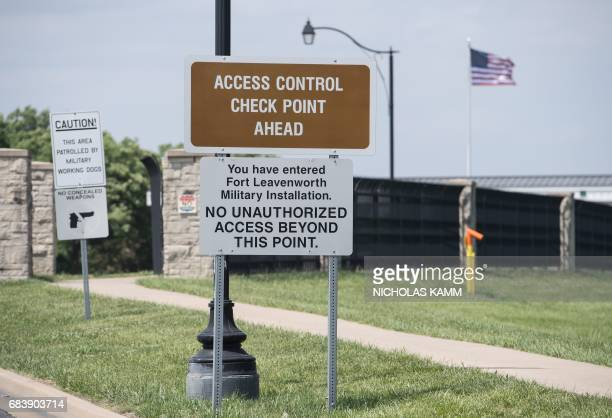 A sign is seen at the entrance to US Army facility Fort Leavenworth in Leavenworth Kansas on May 16 2017 After seven years behind bars US Army...