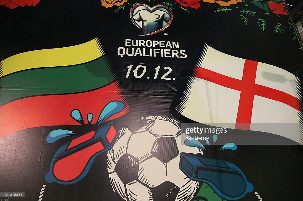 A sign is seen at the LFF Stadium prior to the UEFA EURO 2016 qualifying match between Lithuania and England at the LFF Stadium on October 12 2015 in...