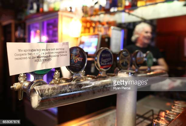 A sign is seen explaining why Coopers Beer is not being served at the Hollywood Hotel on March 14 2017 in Sydney Australia The South Australian...