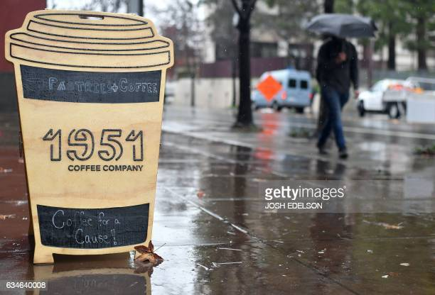 A sign is seen outside 1951 Coffee Company in Berkeley California on February 09 2017 The 1951 Coffee Company is a nonprofit organization that...