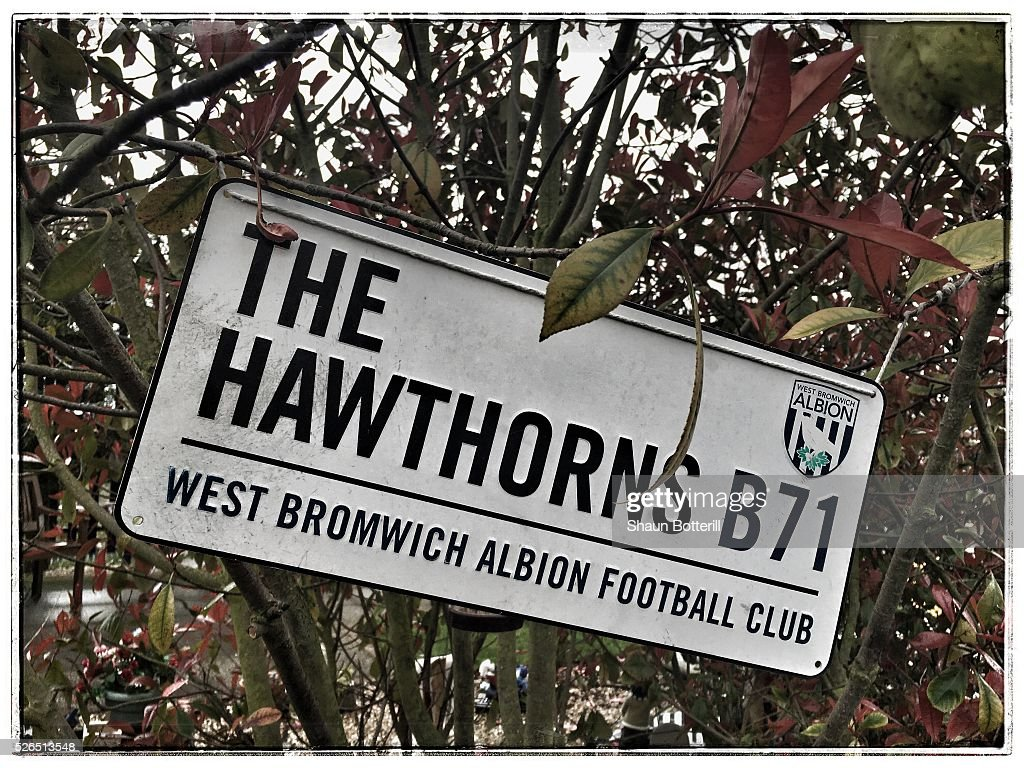 A sign is seen prior to the Barclays Premier League match between West Bromwich Albion and West Ham United at The Hawthorns on April 30, 2016 in West Bromwich, England.