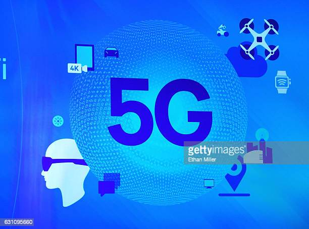 A 5G sign is shown on screen during a keynote address by Qualcomm Inc CEO Steve Mollenkopf at CES 2017 at The Venetian Las Vegas on January 6 2017 in...