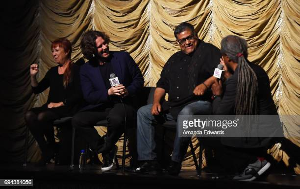 A sign language interpreter director Edgar Wright script consultant Joe Loya and Film Independent at LACMA film curator Elvis Mitchell attend the...