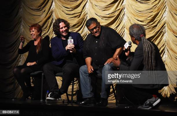 A sign language interpreter writer/director Edgar Wright script consultant Joe Loya and Film Independent at LACMA film curator Elvis Mitchell attend...