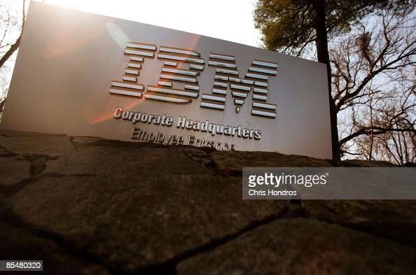 A sign leading to IBM's corporate headquarters is seen on March 18 2009 in Armonk New York IBM is reportedly in talks to buy Sun Microsystems in a...