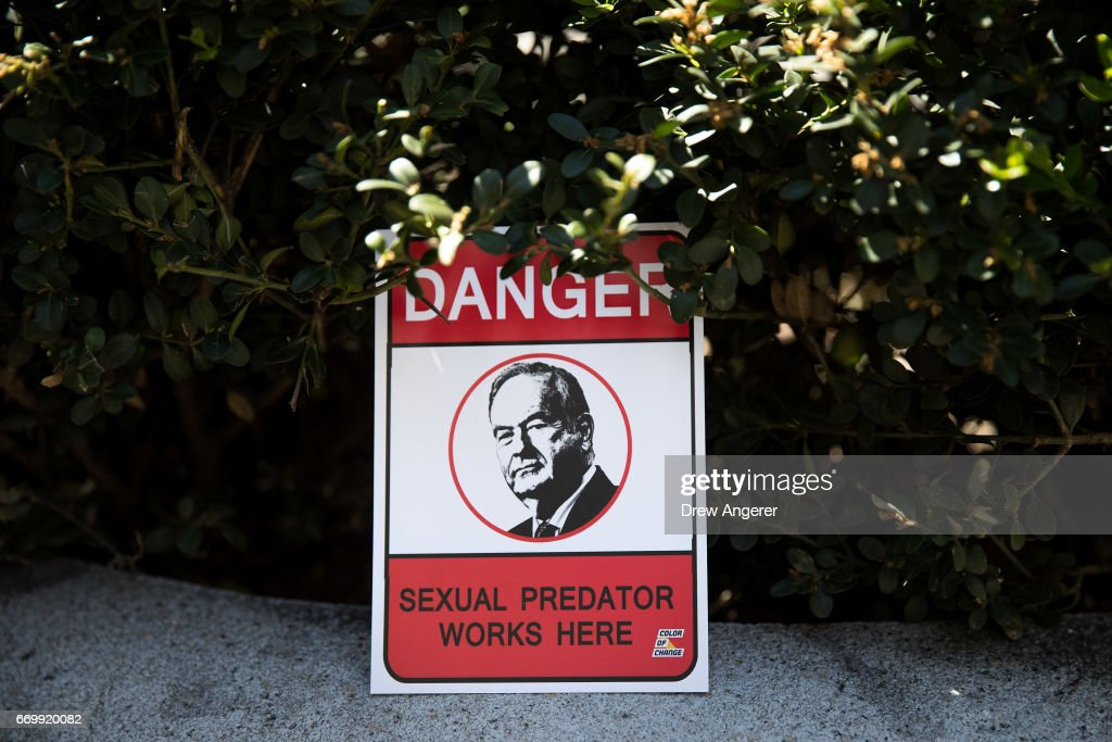 A sign left by a protestor sits outside of the News Corp. and Fox News headquarters following a rally against Fox News television personality Bill O'Reilly in Midtown Manhattan, April 18, 2017 in New York City. The protest against O'Reilly, who has been the subject of numerous sexual harassment allegations and legal settlements, was organized by the women's group UltraViolet and the New York chapter of National Organization for Women.
