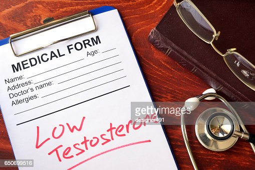 Sign low testosterone in a medical form. : Stock Photo
