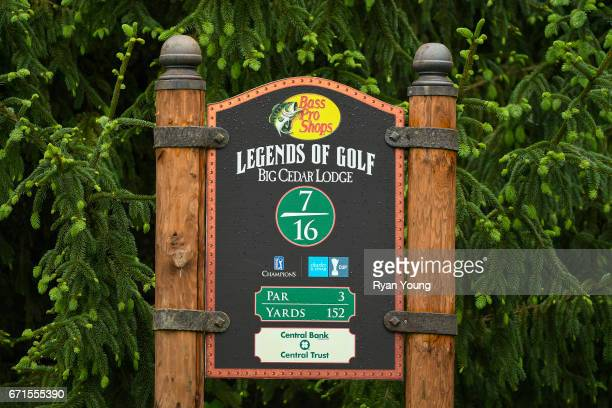 A sign making the seventh hole is seen during the first round of the PGA TOUR Champions Bass Pro Shops Legends of Golf at Big Cedar Lodge at Top of...
