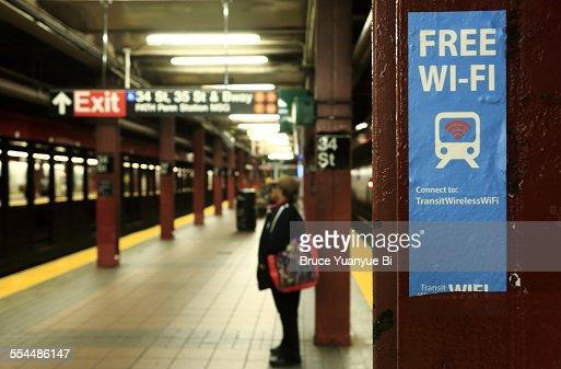 Sign Marking Free Wi-Fi spot at subway station
