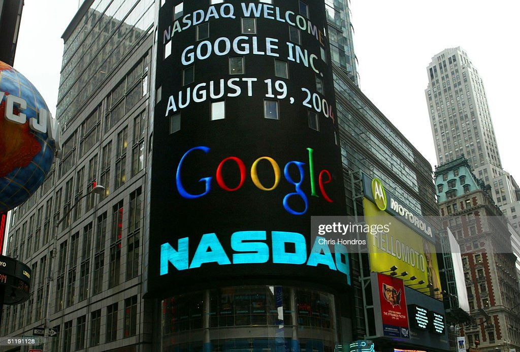 A sign marking Google being traded is seen on the NASDAQ Marketsite August 19, 2004 in New York City. Shares of Google Inc. were expected to begin trading publicly on the Nasdaq Stock Market August 19, at a lower per share price than anticipated.