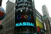 A sign marking Google being traded is seen on the NASDAQ Marketsite August 19 2004 in New York City Shares of Google Inc were expected to begin...