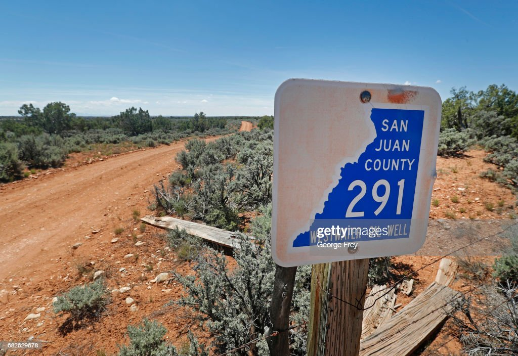 BLANDING, UT - MAY 12; A sign marks a road to an oil well in the Bears Ears National Monument on May 12, 2017 outside Blanding, Utah. Many locals fear the new monument regulations will close access to longtime established roads and oil and mineral exploration. The newly created Bears Ears National Monument and the Grand Staircase-Escalante National Monument, are under review by the Trump Administration to help determine their future status.