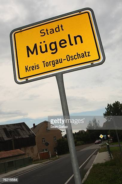A sign marks city limits August 22 2007 in Muegeln Germany A group of approximately 50 youths some of whom yelled 'Foreigners Out' and 'Germany for...