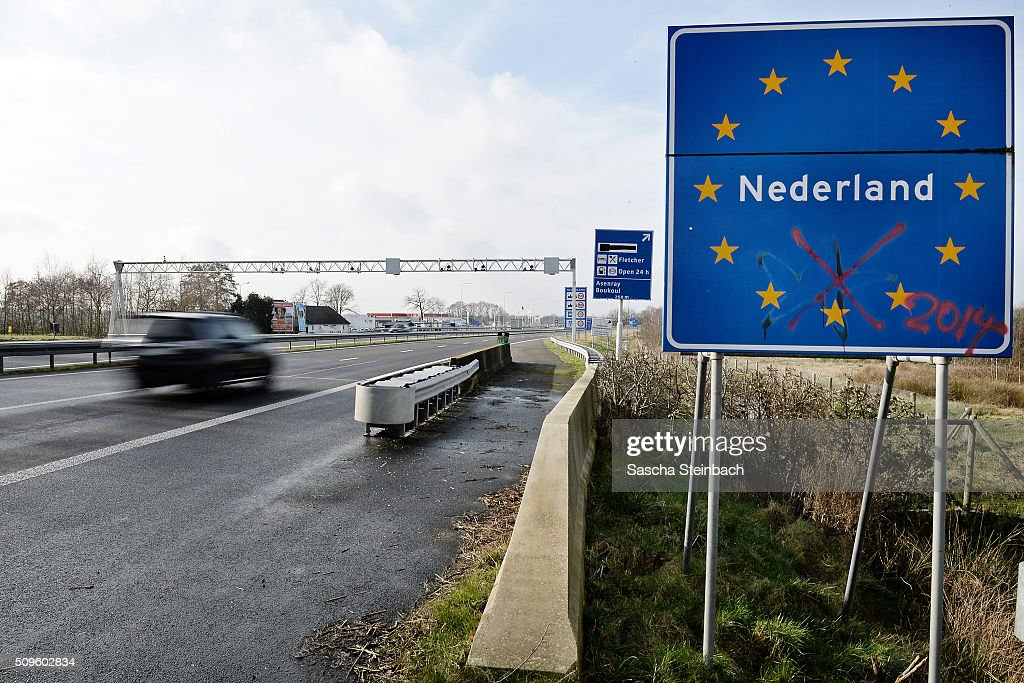 A sign marks entry to Holland at the A52 highway on the German-Dutch border on February 11, 2016 near Elmpt, Germany. Despite an announcement by Dutch authorities two days before that effective immediately police would begin conducting stricter controls of incoming traffic at border crossings to Germany not a single Dutch police officer was present at at least 15 border crossings today. Dutch authorities made the announcement as part of an effort to prevent migrants who have no case for asylum from entering Holland.