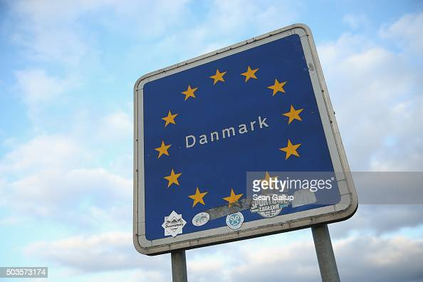 A sign marks the border to Denmark along the A7 highway on January 6 2016 near Padborg Denmark Denmark introduced a 10day period of passport controls...