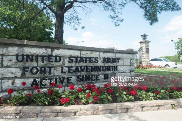 A sign marks the entrance to US Army facility Fort Leavenworth in Leavenworth Kansas on May 16 2017 After seven years behind bars US Army Private...