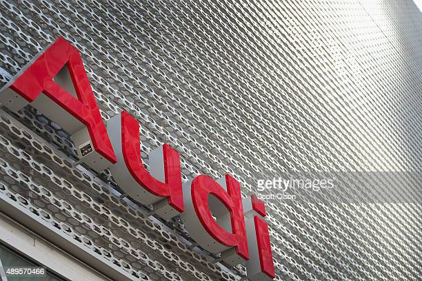 A sign marks the location of a Audi dealership on September 22 2015 in Chicago Illinois The Environmental Protection Agency has accused Volkswagen...