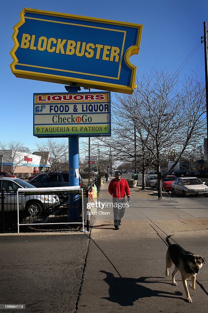 A sign marks the location of a Blockbuster video store on January 22, 2013 in Chicago, Illinois. Dish Network Corp., which owns the video rental chain, says it plans to close about 300 Blockbuster stores across the country, eliminating about 3,000 jobs.