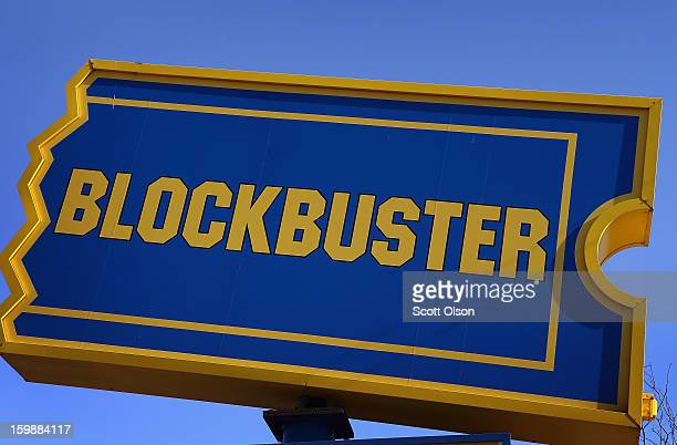 A sign marks the location of a Blockbuster video store on January 22 2013 in Chicago Illinois Dish Network Corp which owns the video rental chain...